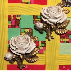 Pair of Vintage Rose Wall Hangings